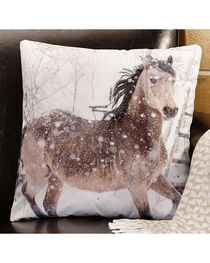 Giftcraft Horse Print Decorative Velvet Pillow , , hi-res