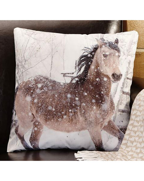 Giftcraft Horse Print Decorative Velvet Pillow , White, hi-res