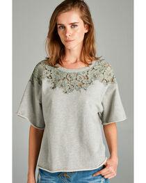 Hyku Women's Heather Grey Lace Applique Terri Top , , hi-res