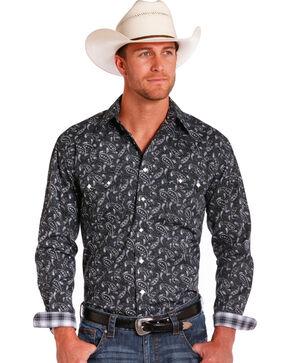 Rough Stock by Panhandle Men's Paisley Black Long Sleeve Snap Shirt, Black, hi-res