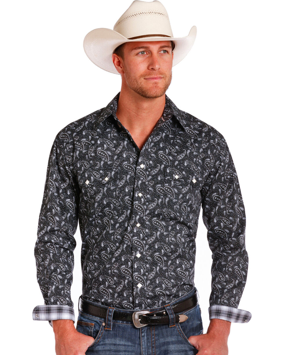 Rough Stock by Panhandle Men's Imperia Vintage Print Western Shirt, Black, hi-res
