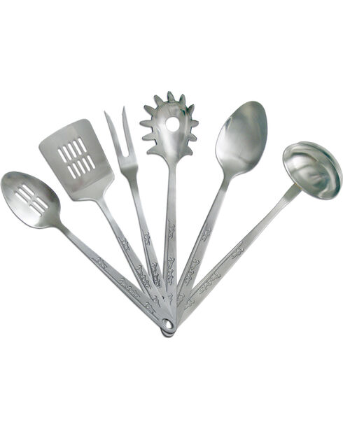 Moss Brothers 6-Piece Running Horse Stainless Steel Serving Set  , Silver, hi-res