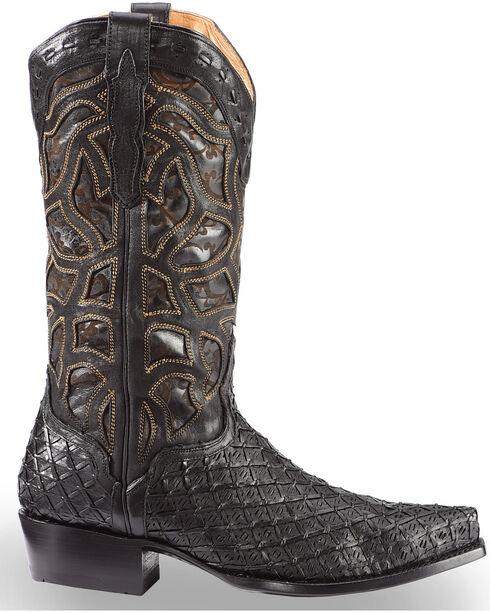 El Dorado Men's Basket Weave Black Cowboy Boots – Snip Toe , Chocolate, hi-res