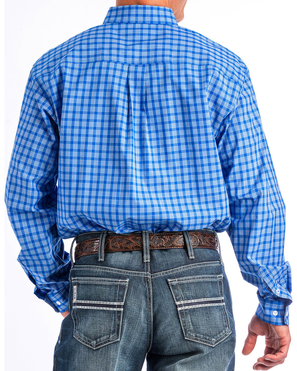 Cinch Men's Blue Plaid Button Up Shirt, Blue, hi-res