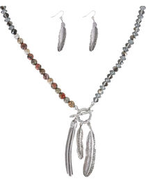 Shyanne®  Feather and Fringe Jewelry Set, Silver, hi-res