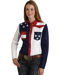 Roper Women's Stars & Stripes Colorblock Western Shirt, , hi-res