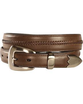Nocona Men's Braided Leather Western Belt, Brown, hi-res