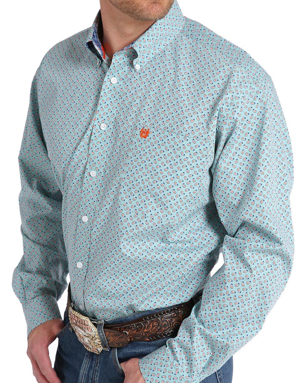 Cinch Men's Light Blue Paisley Long Sleeve Button Down Shirt, Light Blue, hi-res