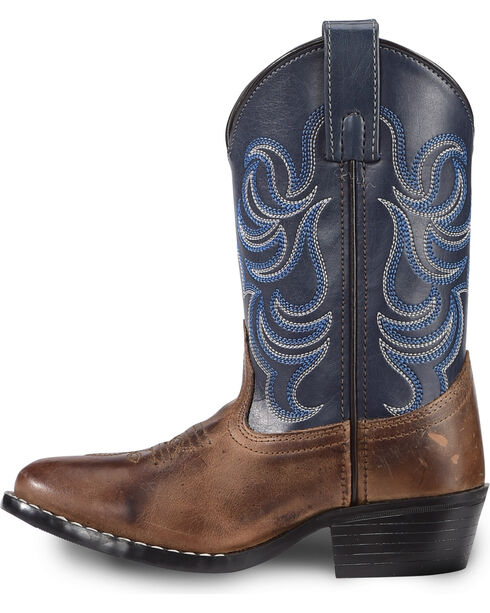 Cody James Boys' Two-Tone Embroidered Western Boots - Round Toe, Brown, hi-res