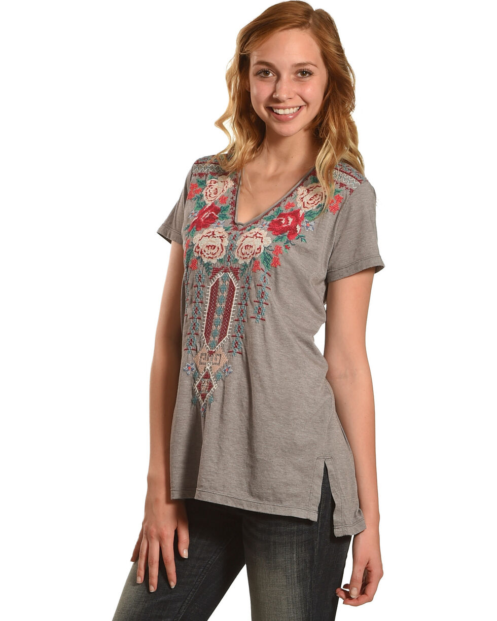 Johnny Was Women's Grey Helena V-Neck Shirt , Grey, hi-res