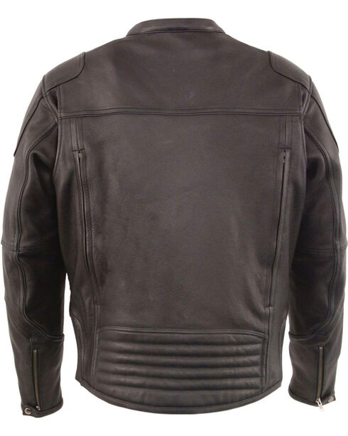 Milwaukee Leather Men's Black Cool Tec Leather Scooter Jacket - Big 3X, Black, hi-res