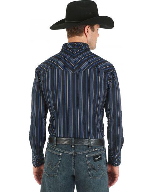 Wrangler Silver Edition Blue and Black Dobby Stripe Western Shirt, Blue, hi-res