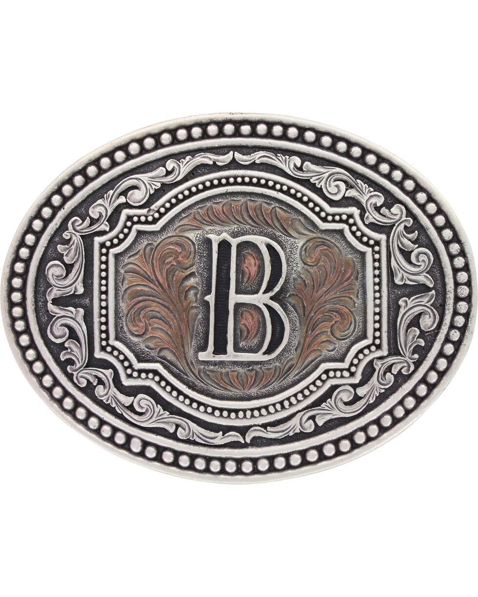 "Montana Silversmiths Men's Initial ""B"" Two-Tone Attitude Belt Buckle, Silver, hi-res"