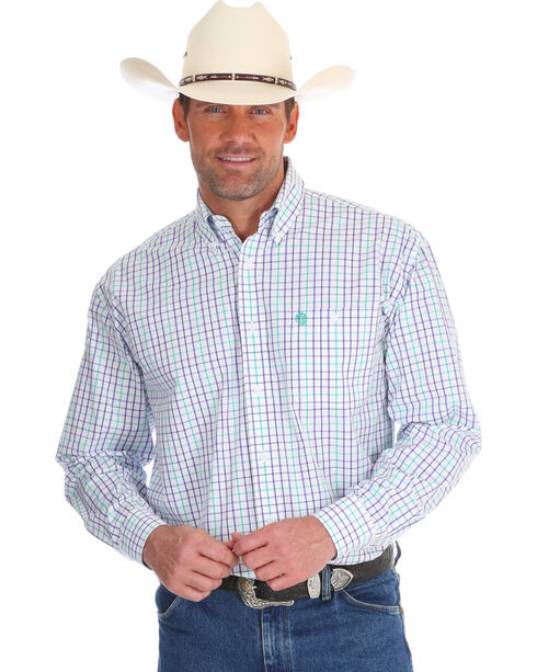 Wrangler Men's Purple George Strait Small Plaid Shirt - Tall, Purple, hi-res