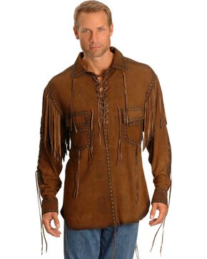 Kobler Cheval Leather Shirt, Brown, hi-res