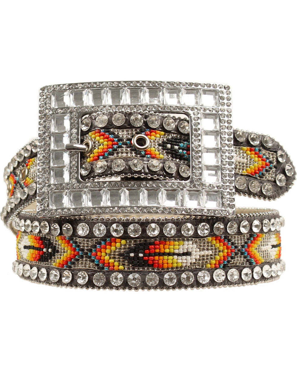 Nocona Belt Co. Women's Aztec Beaded Rhinestone Belt, Multi, hi-res