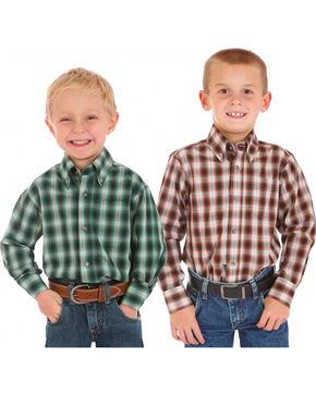 Wrangler Boys' Assorted Plaid Long Sleeve Shirt, Multi, hi-res