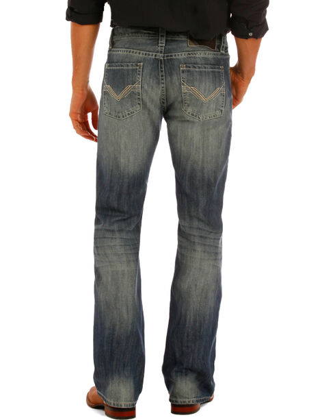 "Rock & Roll Cowboy Men's Indigo ""V"" Stitching Pistol Jeans - Boot Cut, Indigo, hi-res"