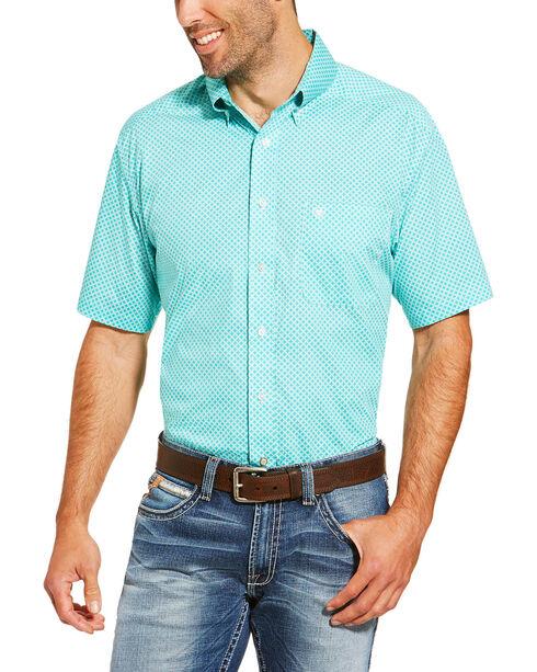 Ariat Men's Printed Short Sleeve Shirt , Turquoise, hi-res
