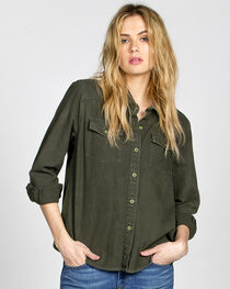 MM Vintage Women's Olive Embroidered Button Front Top , , hi-res