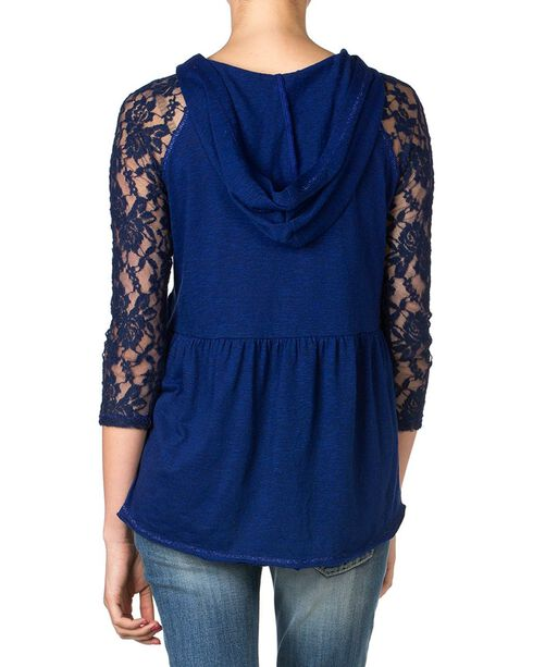 Miss Me Hooded Peplum Lace Top, Navy, hi-res