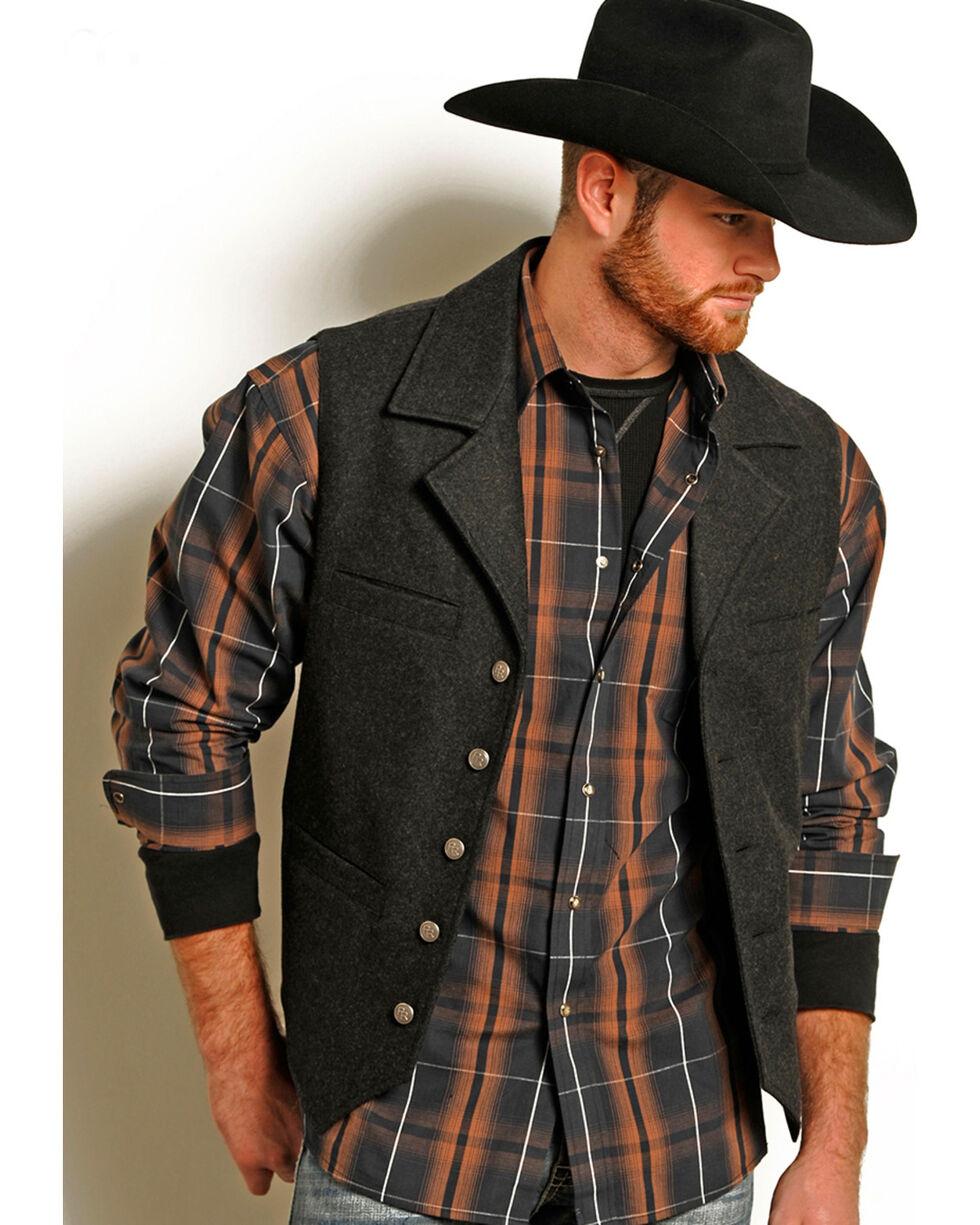 Powder River Outfitters Men's Montana Wool Vest - Big & Tall, Dark Grey, hi-res