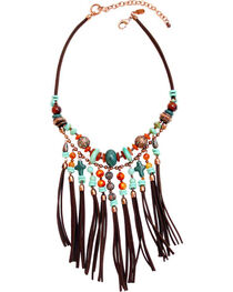 Treska Women's Santa Fe Bead & Fringe Bib Necklace , , hi-res