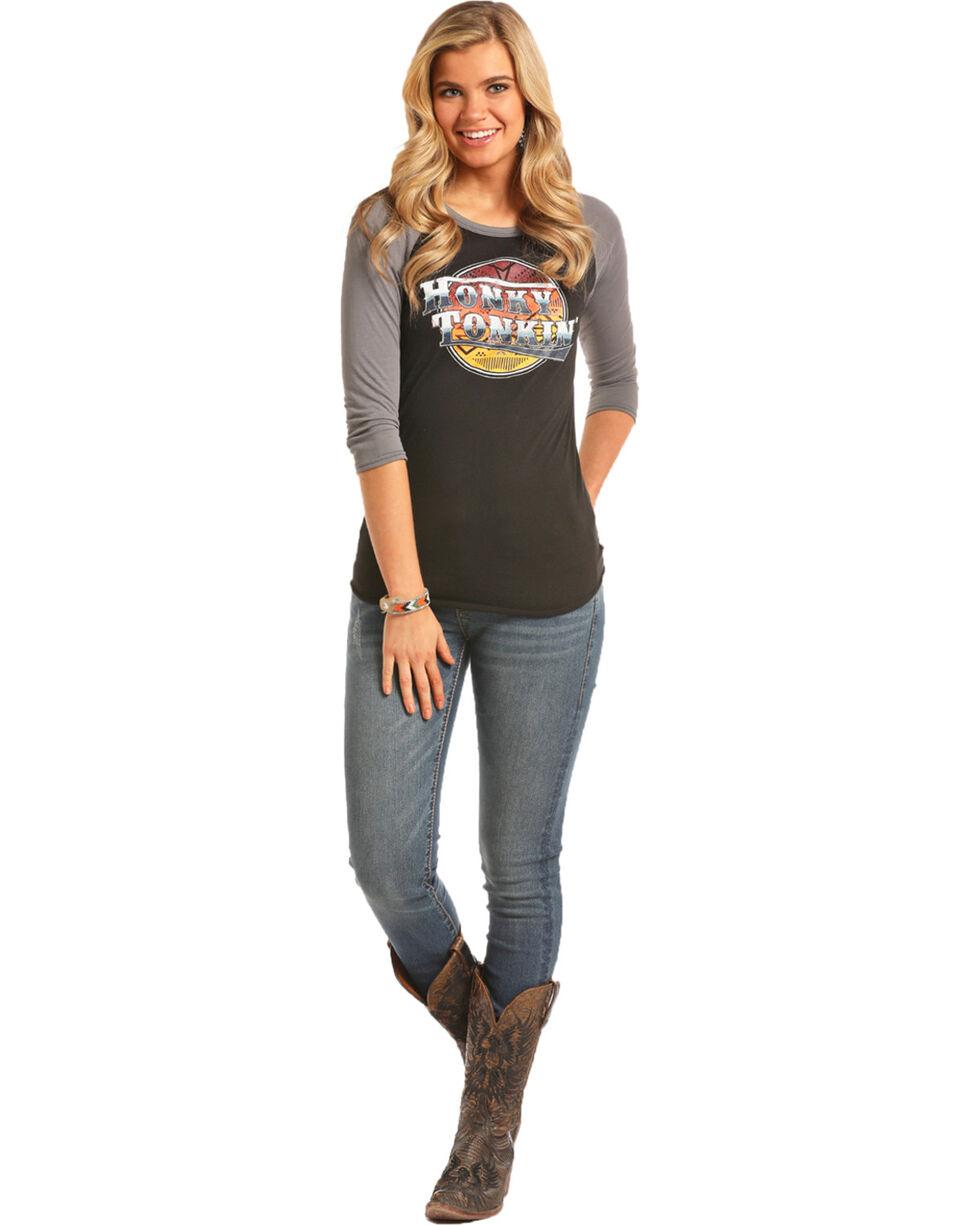 Rock & Roll Cowgirl Women's Black Honky Tonkin' Baseball Tee , Black, hi-res