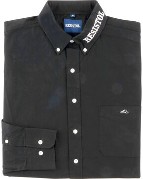 Resistol Men's Logo Long Sleeve Button Down Shirt, Black, hi-res