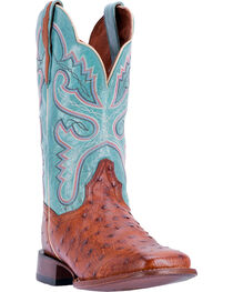 Dan Post Women's Ostrich Quilled Western Boots - Square Toe , Cognac, hi-res