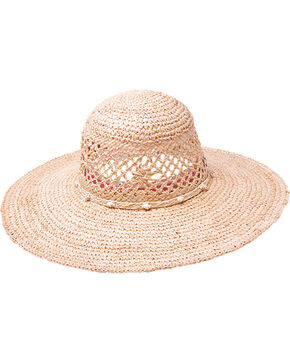 "Peter Grimm Seaside 4 1/2"" Shell Band Raffia Straw Sun Hat, Natural, hi-res"