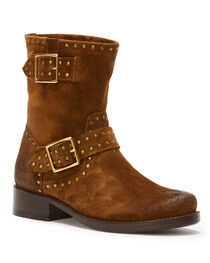 Frye Women's Chocolate Vicky Stud Engineer Boots - Round Toe , , hi-res