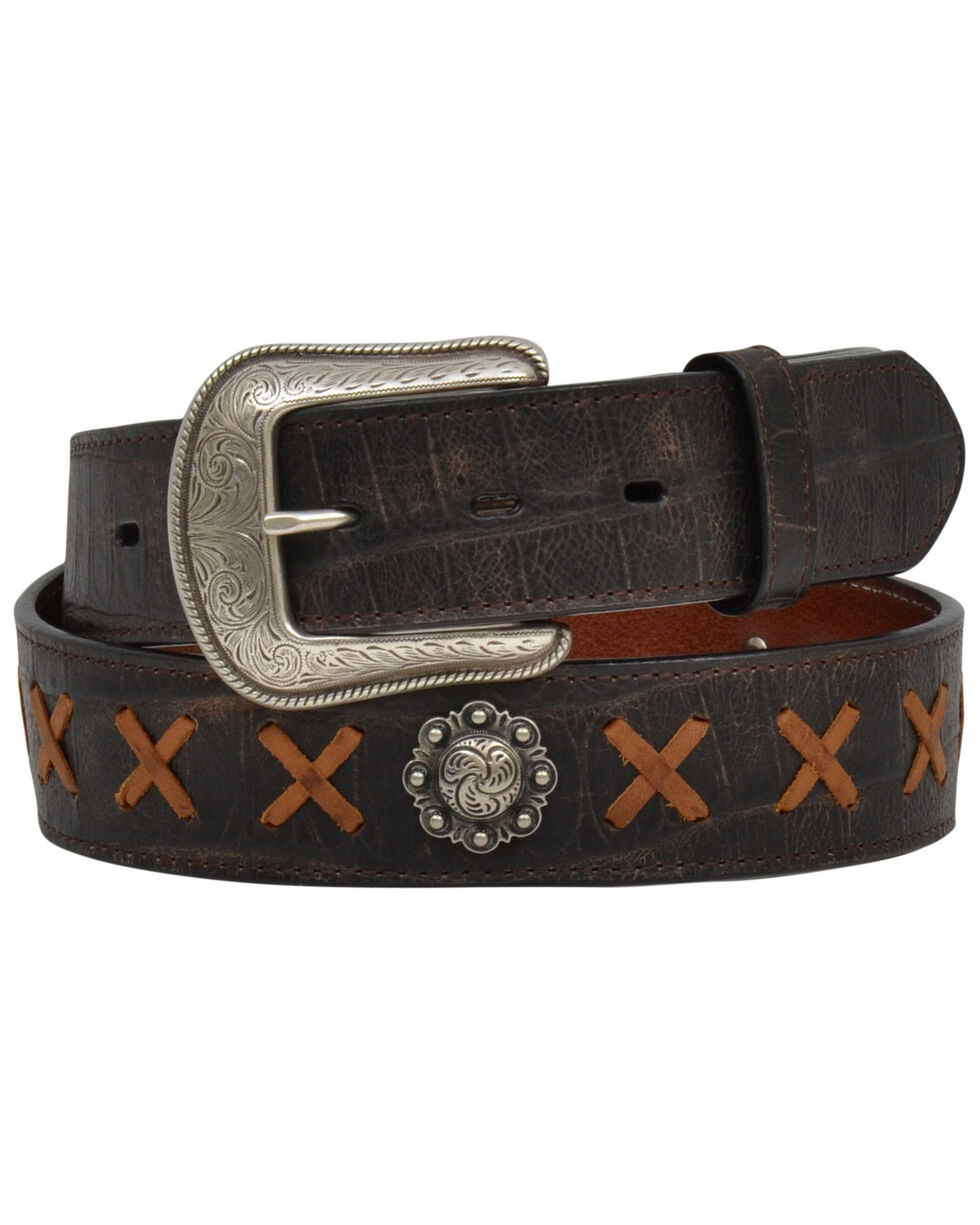 3D Men's Brown Caiman Print Stitched Belt , Brown, hi-res