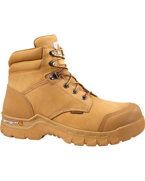 "Carhartt Men's 6"" Wheat Waterproof Rugged Flex Work Boots - Comp Toe, Wheat, hi-res"