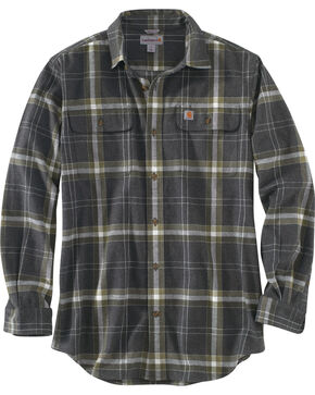 Carhartt Men's Black Hubbard Plaid Shirt - Tall, Black, hi-res