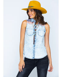 Miss Me Women's Sleeveless Contrast Yoke Western Shirt, , hi-res