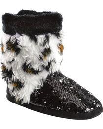 Blazin Roxx Youth Girls' Plush Leopard Print Sequin Bootie Slippers, , hi-res