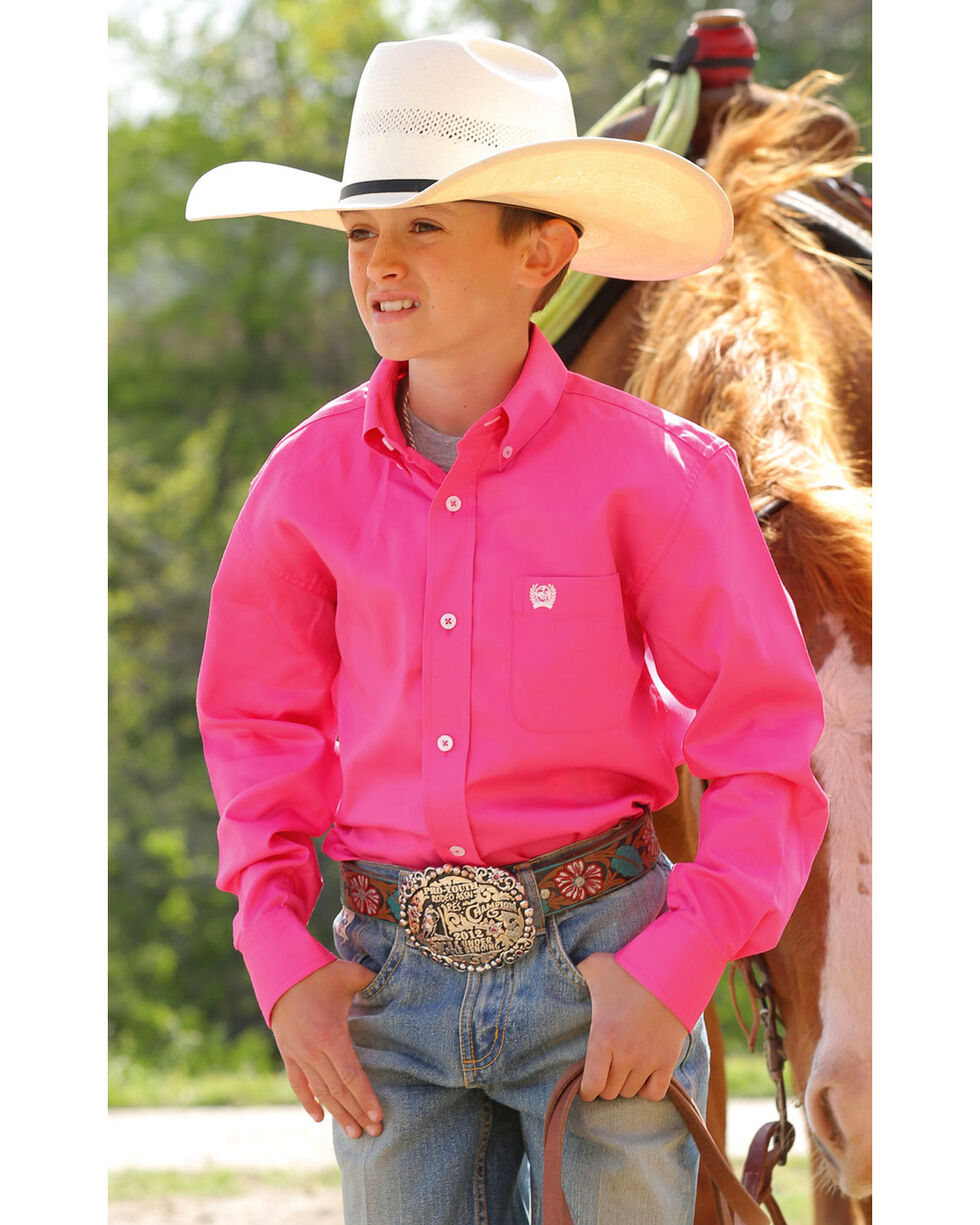 Cinch ® Boys' Hot Pink Long Sleeve Shirt, Pink, hi-res