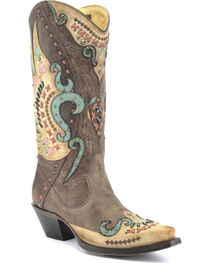 Corral Women's Multi-Colored Swan Overlay Western Boots, , hi-res