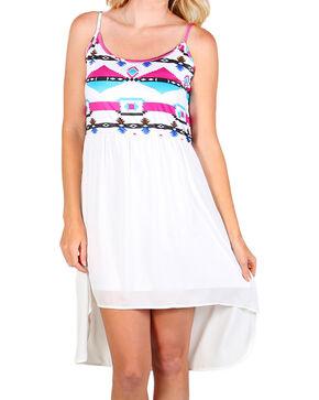 Rock & Roll Cowgirl Women's Aztec Summer Dress, White, hi-res
