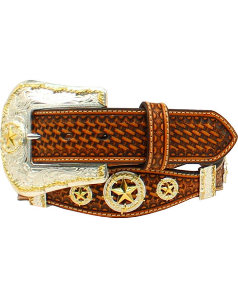 Nocona Men's Embossed Knot Concho Western Belt , Tan, hi-res