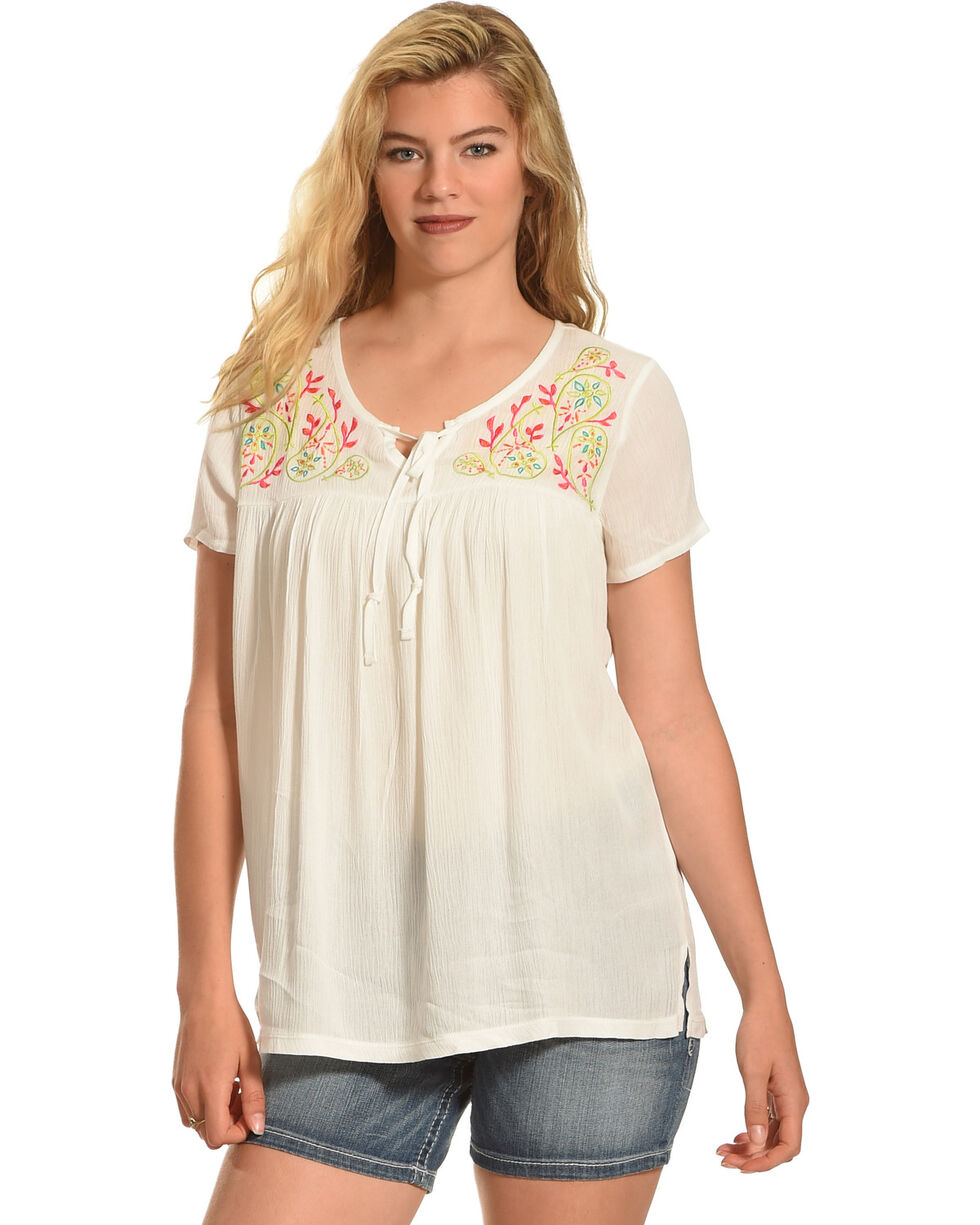 Angel Ranch Women's Colorful Paisley Top, , hi-res