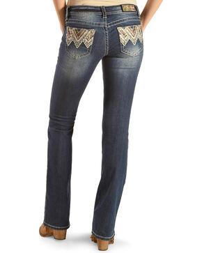 Grace in LA Women's Chevron Camo Pocket Boot Cut Jeans, Indigo, hi-res