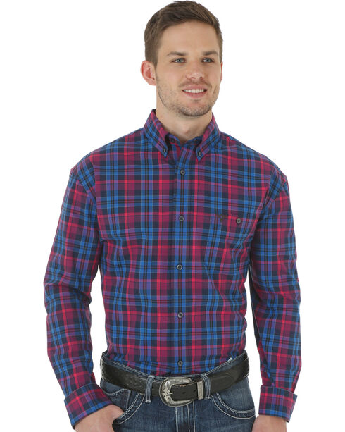 Wrangler 20X Advanced Comfort Men's Magenta & Blue Button Shirt, Blue, hi-res