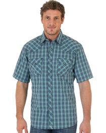 Wrangler 20X Short Sleeve Snap Green Plaid Shirt, , hi-res