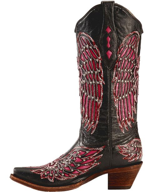 Corral Women's Cross and Wing Inlay Western Boots, Black, hi-res