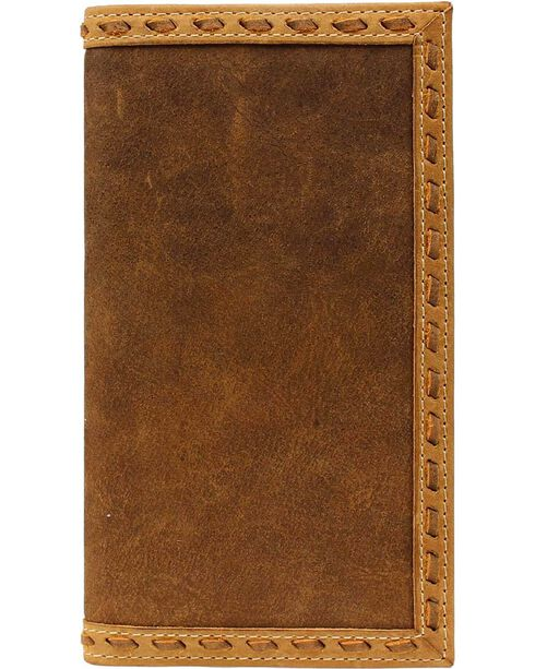 Ariat Men's Whip Stitch Rodeo Check Book Wallet, Distressed, hi-res