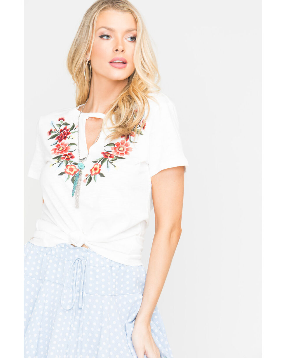 Miss Me Women's In Full Bloom Top, Off White, hi-res