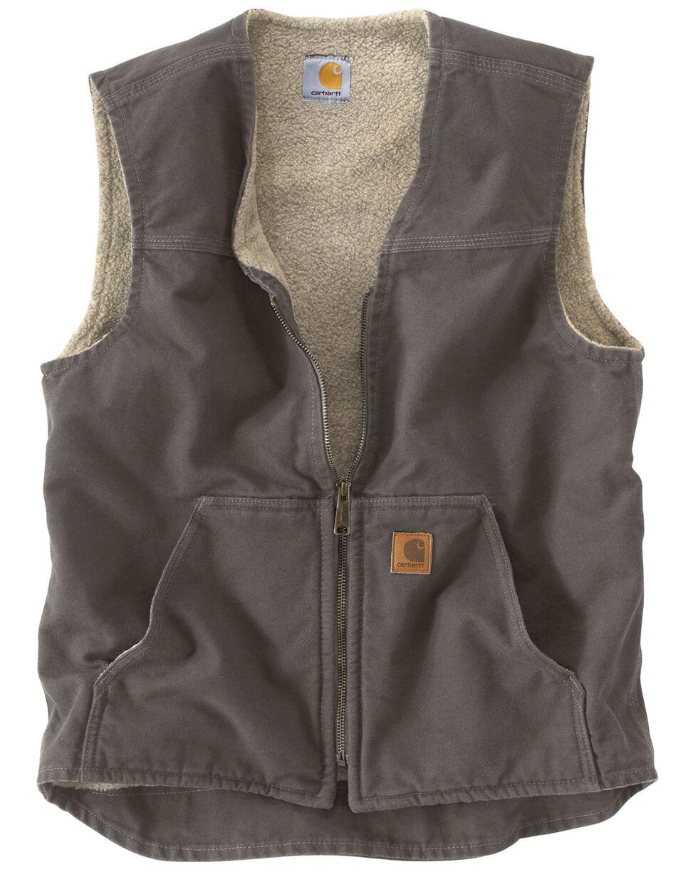Carhartt Men's Sandstone Rugged Sherpa Lined Vest, Grey, hi-res