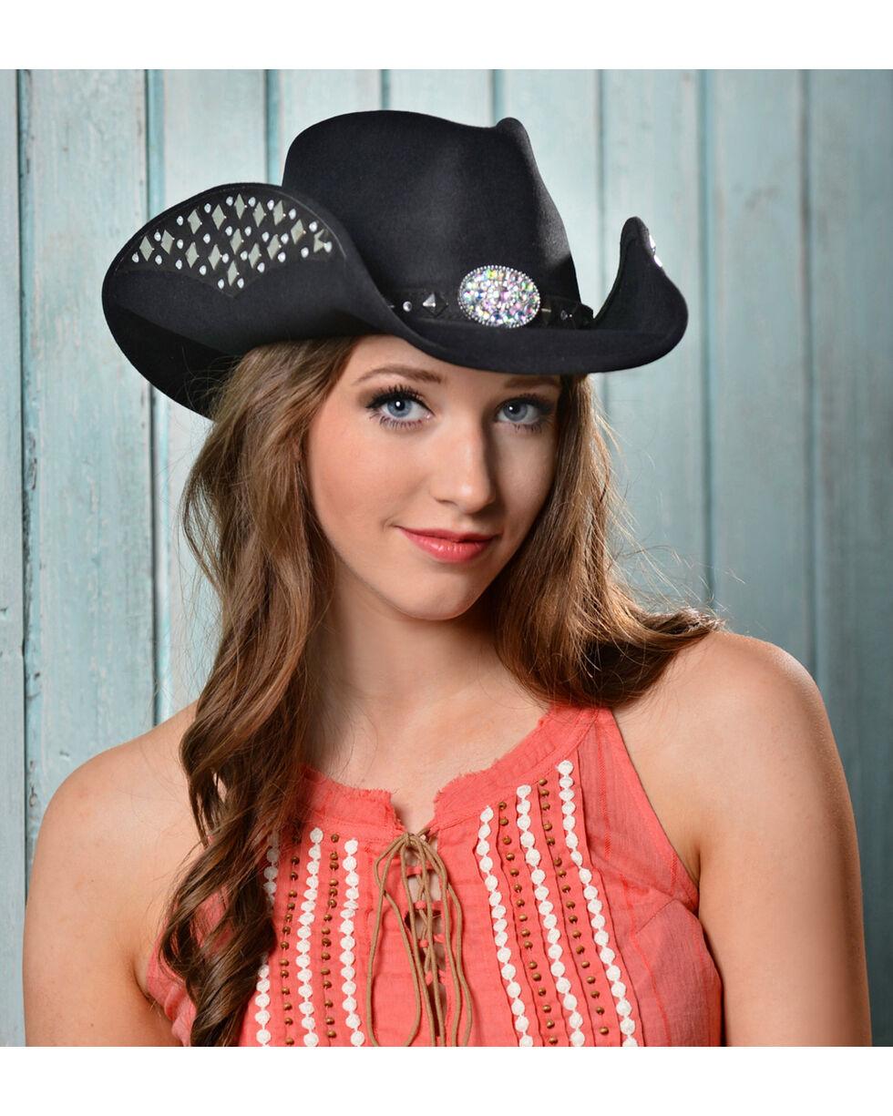 Bullhide Women's Let'S Get Loud Wool Hat, Black, hi-res
